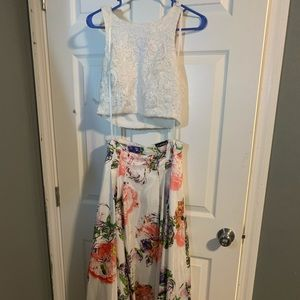 Dresses & Skirts - white two piece long dress